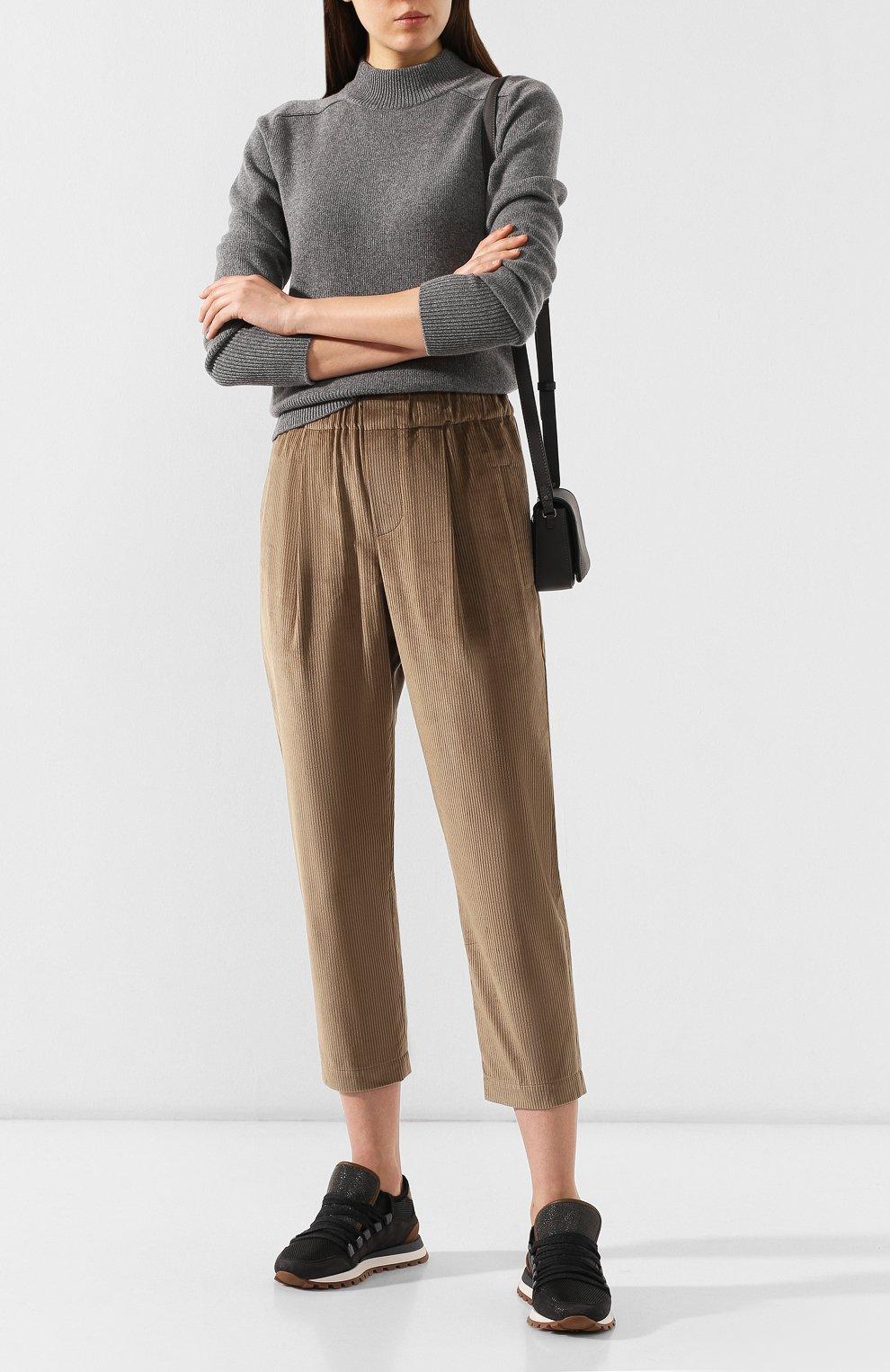 Женские вельветовые брюки BRUNELLO CUCINELLI бежевого цвета, арт. MP104P7054 | Фото 2