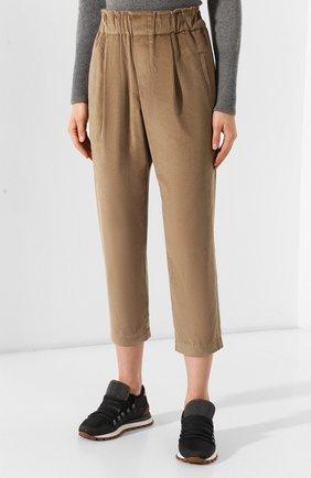 Женские вельветовые брюки BRUNELLO CUCINELLI бежевого цвета, арт. MP104P7054 | Фото 3