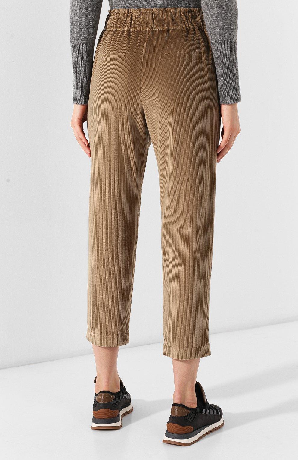 Женские вельветовые брюки BRUNELLO CUCINELLI бежевого цвета, арт. MP104P7054 | Фото 4