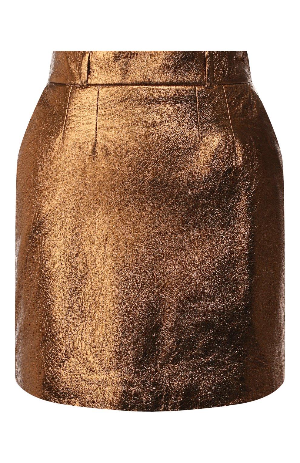 Женская кожаная юбка SAINT LAURENT коричневого цвета, арт. 575528/YC2CE | Фото 1