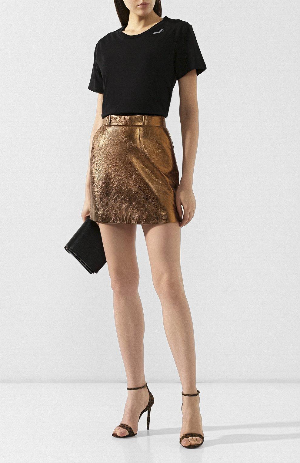 Женская кожаная юбка SAINT LAURENT коричневого цвета, арт. 575528/YC2CE | Фото 2