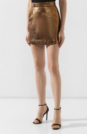 Женская кожаная юбка SAINT LAURENT коричневого цвета, арт. 575528/YC2CE | Фото 3