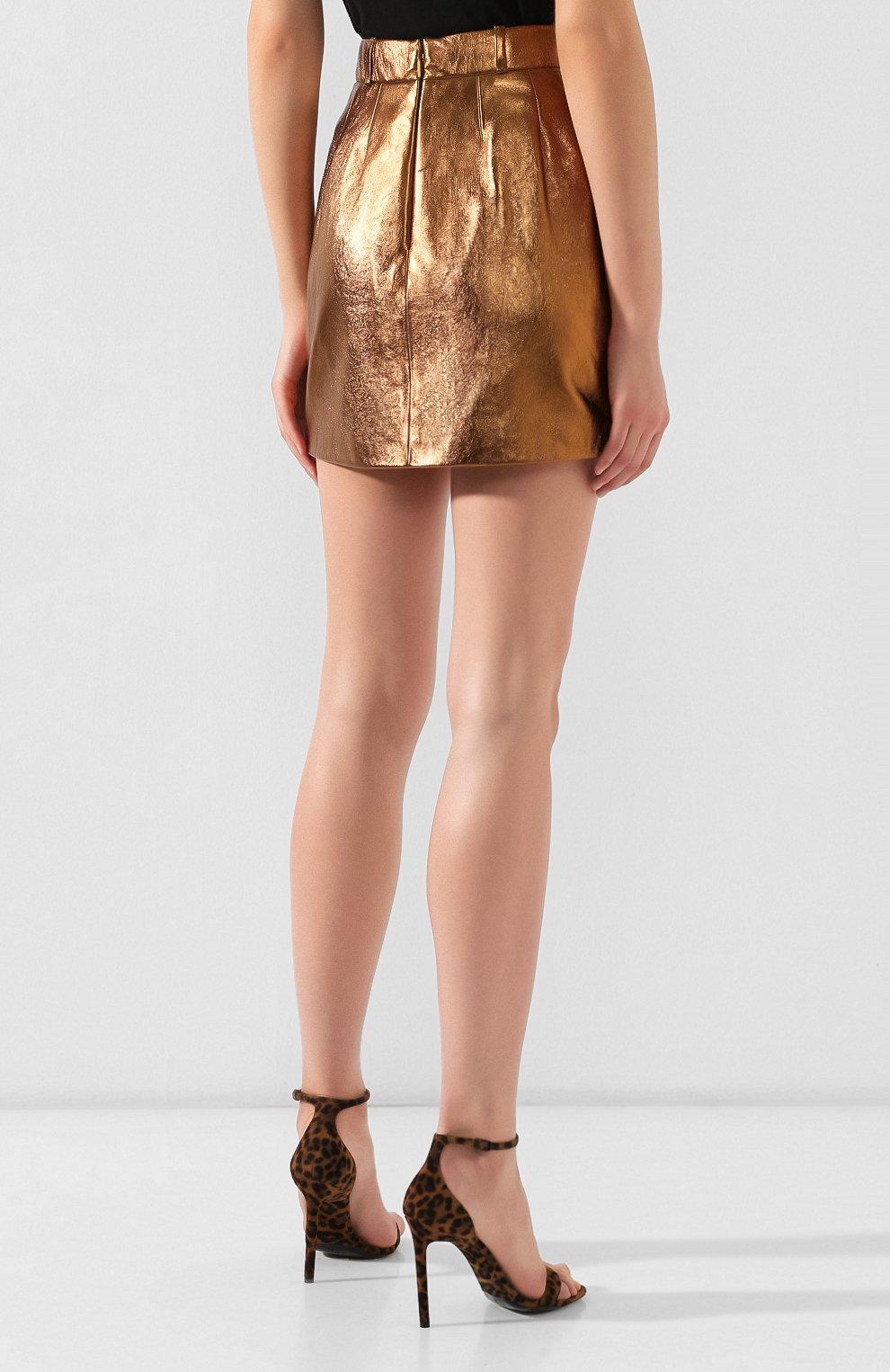Женская кожаная юбка SAINT LAURENT коричневого цвета, арт. 575528/YC2CE | Фото 4