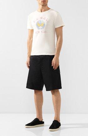 Мужская хлопковая футболка RRL белого цвета, арт. 782733365 | Фото 2