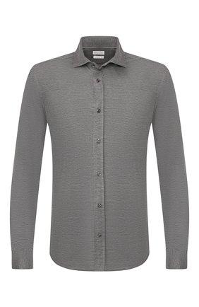 Мужская сорочка из смеси шелка и хлопка BRUNELLO CUCINELLI темно-серого цвета, арт. MTS376699 | Фото 1