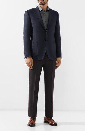 Мужская сорочка из смеси шелка и хлопка BRUNELLO CUCINELLI темно-серого цвета, арт. MTS376699 | Фото 2