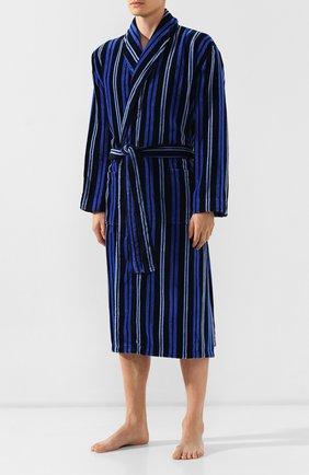 Мужской хлопковый халат DEREK ROSE темно-синего цвета, арт. 5705-AST0034 | Фото 2