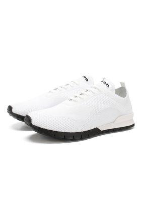 Мужские текстильные кроссовки KITON белого цвета, арт. USSFITN00609010 | Фото 1