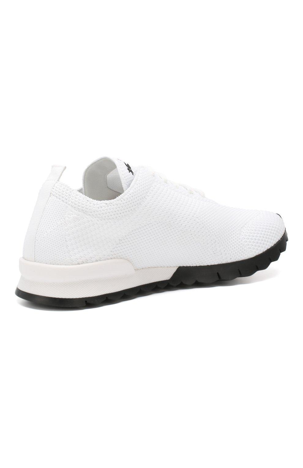 Мужские текстильные кроссовки KITON белого цвета, арт. USSFITN00609010 | Фото 4