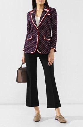 Женские кожаные лоферы brixton GUCCI серого цвета, арт. 414998/DLC00 | Фото 2
