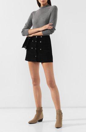 Женские замшевые ботинки west SAINT LAURENT светло-коричневого цвета, арт. 579136/BT300   Фото 2