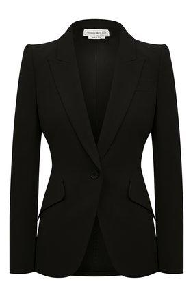Женский шерстяной жакет ALEXANDER MCQUEEN черного цвета, арт. 585442/QJAAC | Фото 1