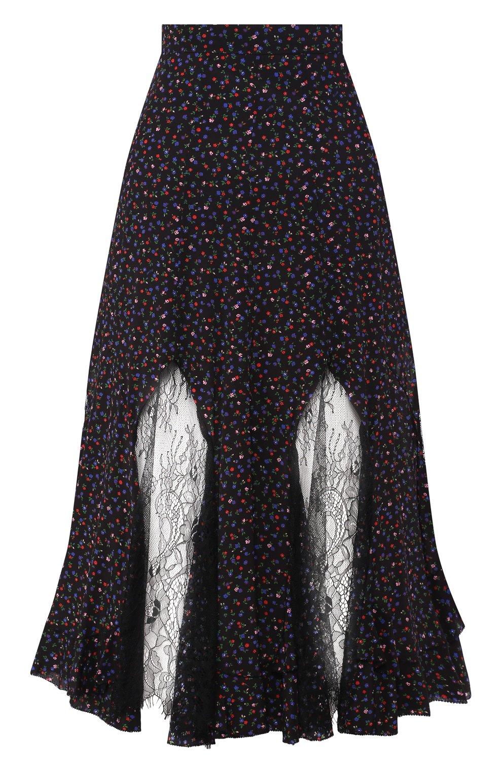 Женская шелковая юбка MCQ SWALLOW темно-синего цвета, арт. 570651/RNB05   Фото 1 (Материал внешний: Шелк; Длина Ж (юбки, платья, шорты): Миди; Статус проверки: Проверена категория)