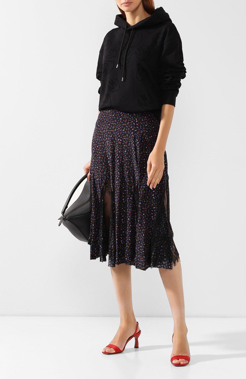 Женская шелковая юбка MCQ SWALLOW темно-синего цвета, арт. 570651/RNB05   Фото 2 (Материал внешний: Шелк; Длина Ж (юбки, платья, шорты): Миди; Статус проверки: Проверена категория)