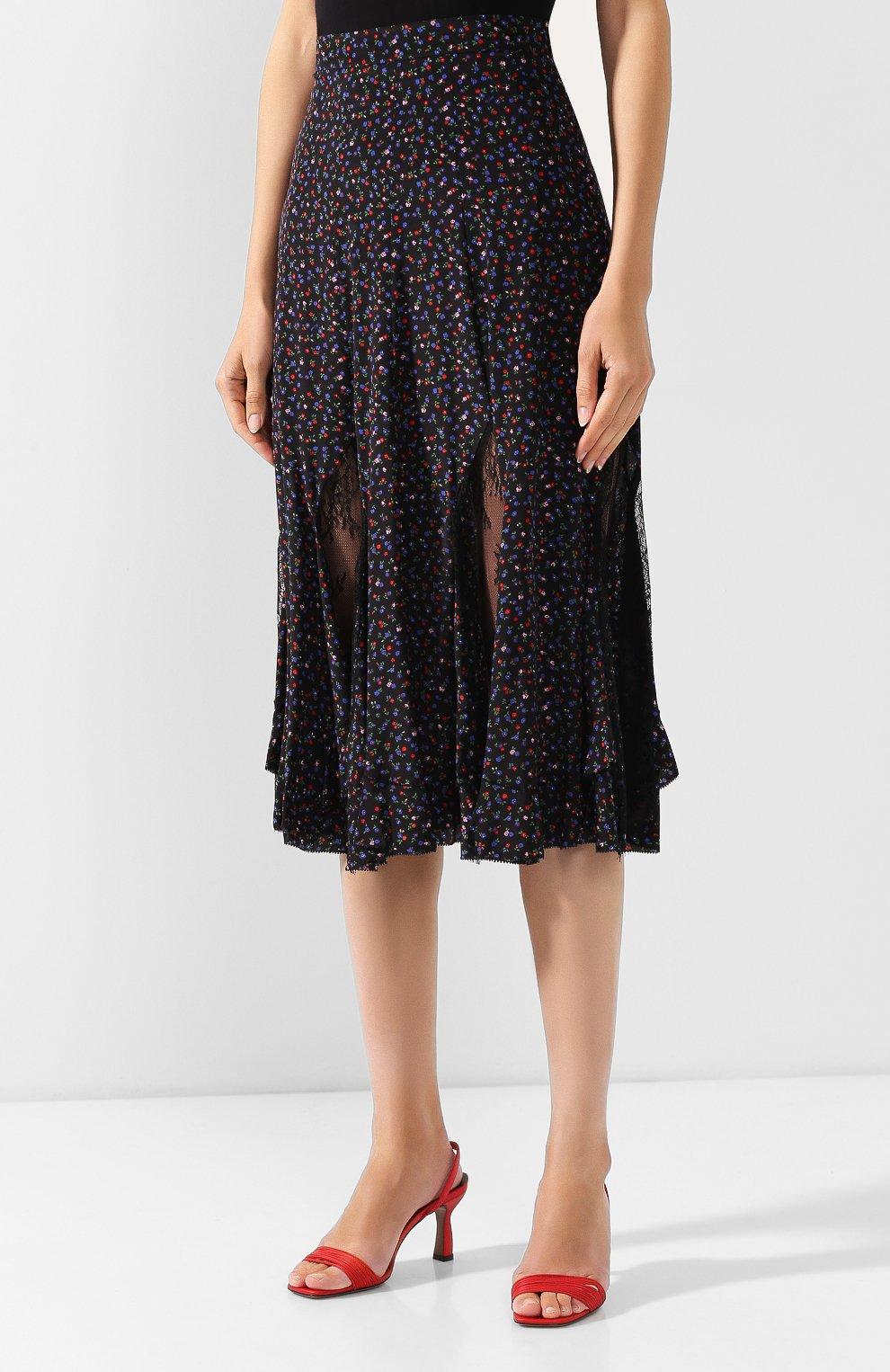 Женская шелковая юбка MCQ SWALLOW темно-синего цвета, арт. 570651/RNB05   Фото 3 (Материал внешний: Шелк; Длина Ж (юбки, платья, шорты): Миди; Статус проверки: Проверена категория)