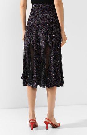 Женская шелковая юбка MCQ SWALLOW темно-синего цвета, арт. 570651/RNB05   Фото 4 (Материал внешний: Шелк; Длина Ж (юбки, платья, шорты): Миди; Статус проверки: Проверена категория)