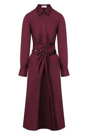 Женское шелковое платье BRUNELLO CUCINELLI бордового цвета, арт. MP110A4463 | Фото 1 (Длина Ж (юбки, платья, шорты): Миди; Рукава: Длинные; Материал внешний: Шелк; Случай: Повседневный; Статус проверки: Проверена категория)