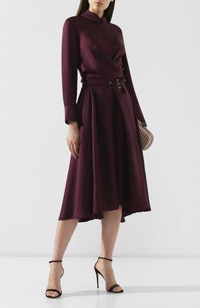 Женское шелковое платье BRUNELLO CUCINELLI бордового цвета, арт. MP110A4463 | Фото 2 (Длина Ж (юбки, платья, шорты): Миди; Рукава: Длинные; Материал внешний: Шелк; Случай: Повседневный; Статус проверки: Проверена категория)