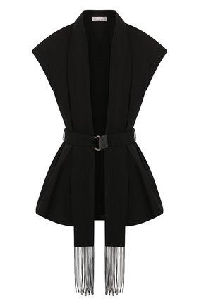 Женский хлопковый жилет BRUNELLO CUCINELLI черного цвета, арт. MP091MC706 | Фото 1