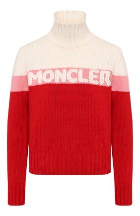 Женский свитер из смеси шерсти и кашемира MONCLER красного цвета, арт. E2-093-92525-50-A9141   Фото 1