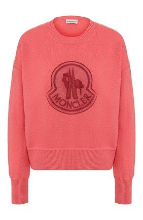 Женский пуловер из смеси шерсти и кашемира MONCLER розового цвета, арт. E2-093-90559-52-A9235 | Фото 1