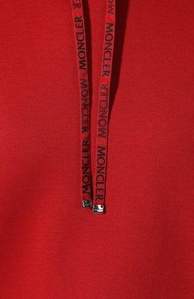 Женский хлопковое худи MONCLER красного цвета, арт. E2-093-80892-00-V8037   Фото 5