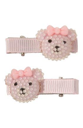 Детская комплект из 2-х зажимов shiny bear JUNEFEE розового цвета, арт. 5170 | Фото 1