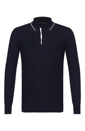 Мужское поло из смеси шерсти и шелка  BILLIONAIRE темно-синего цвета, арт. MKK0132 | Фото 1