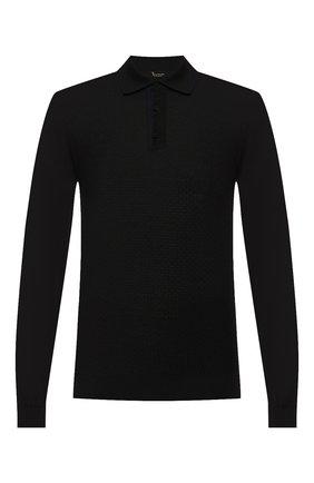 Мужское поло из смеси шерсти и шелка  BILLIONAIRE черного цвета, арт. MKK0132 | Фото 1