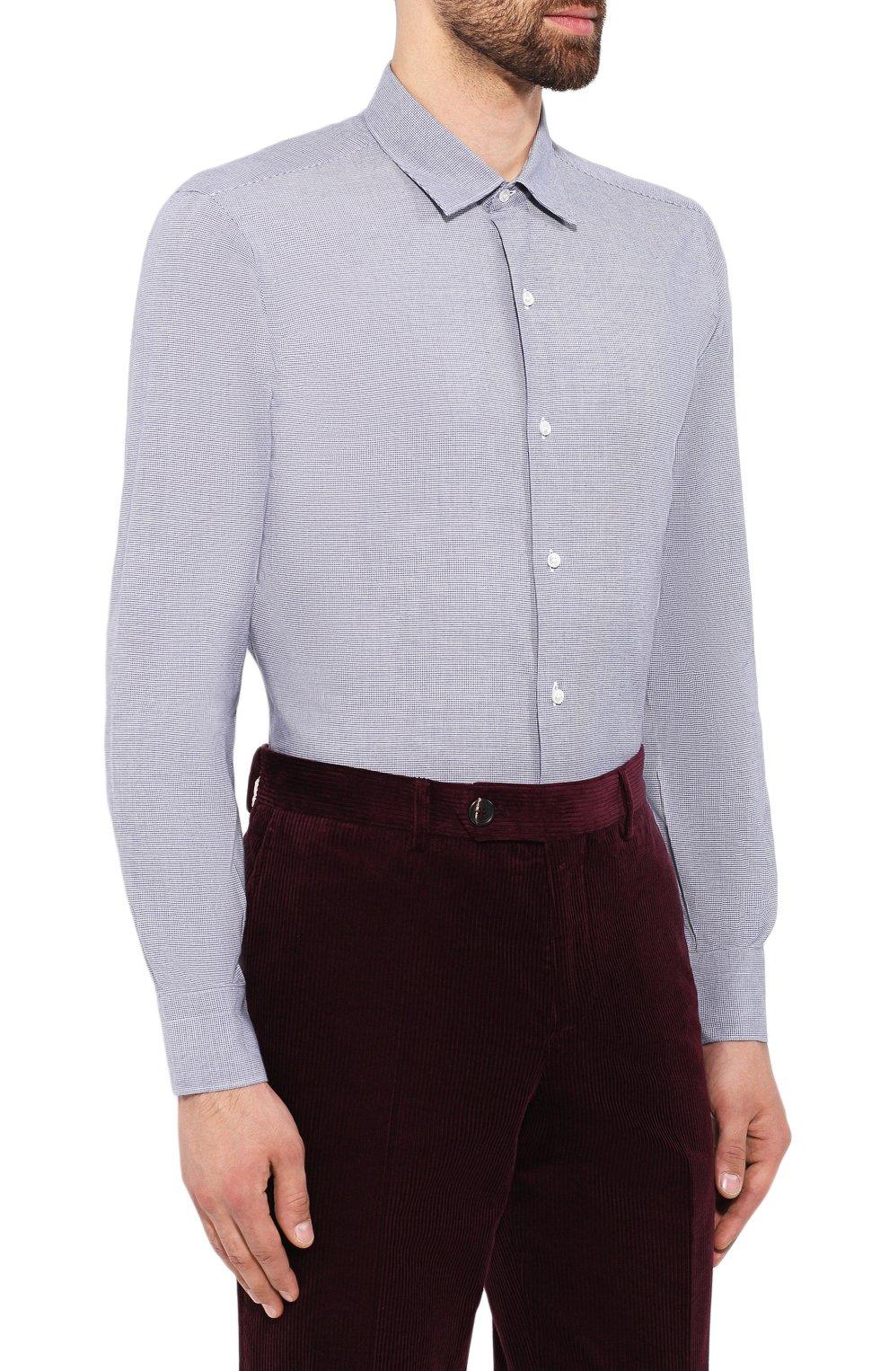 Мужская хлопковая сорочка LORO PIANA синего цвета, арт. FAI7807 | Фото 3