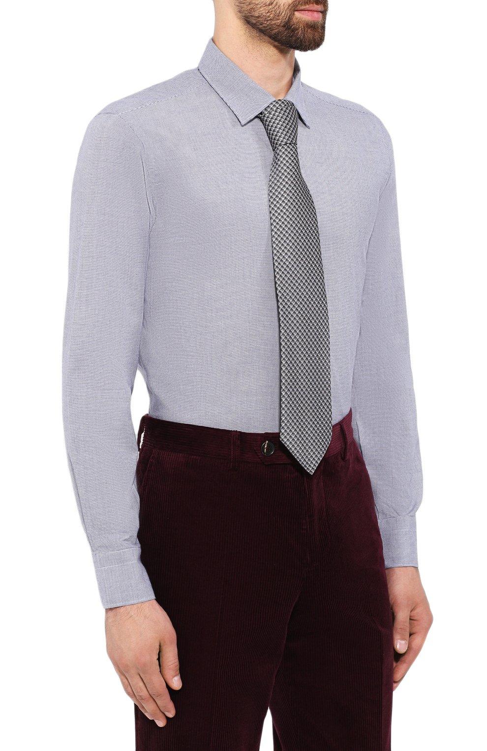 Мужская хлопковая сорочка LORO PIANA синего цвета, арт. FAI7807 | Фото 4