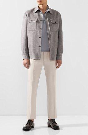 Мужское поло из смеси шерсти и шелка BRIONI серого цвета, арт. UMR30L/08K16 | Фото 2