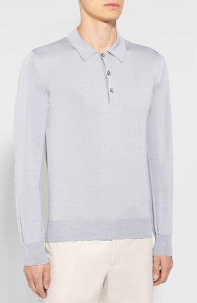 Мужское поло из смеси шерсти и шелка BRIONI серого цвета, арт. UMR30L/08K16 | Фото 3