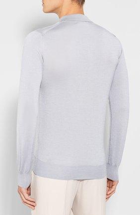 Мужское поло из смеси шерсти и шелка BRIONI серого цвета, арт. UMR30L/08K16 | Фото 4