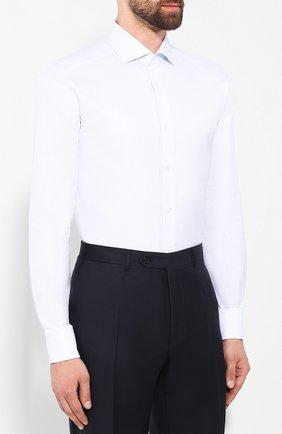 Мужская хлопковая сорочка ZEGNA COUTURE белого цвета, арт. 602072/9NS0LB | Фото 3