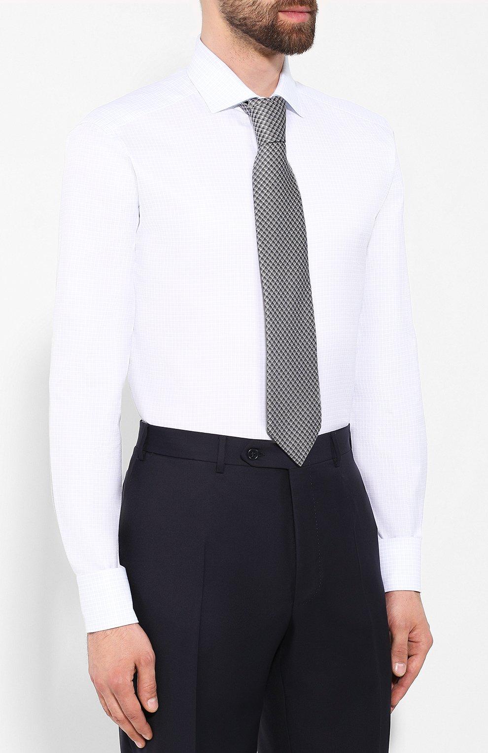 Мужская хлопковая сорочка ZEGNA COUTURE белого цвета, арт. 602072/9NS0LB | Фото 4