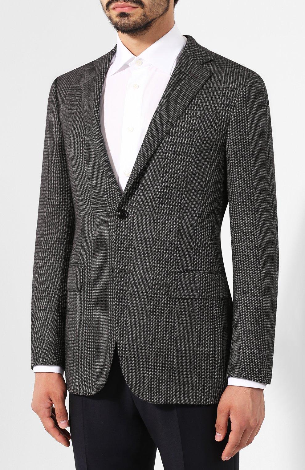 Мужской кашемировый пиджак ERMENEGILDO ZEGNA темно-серого цвета, арт. 669007/121220   Фото 3
