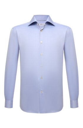 Мужская хлопковая сорочка KITON синего цвета, арт. UCIH0660704 | Фото 1