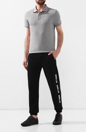 Мужское хлопковое поло MONCLER серого цвета, арт. E2-091-83456-00-84556 | Фото 2