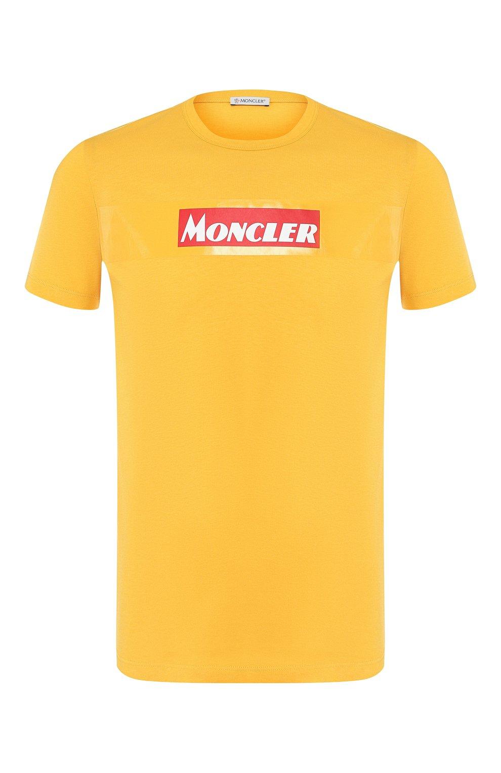 Мужская хлопковая футболка MONCLER желтого цвета, арт. E2-091-80484-50-8390T   Фото 1
