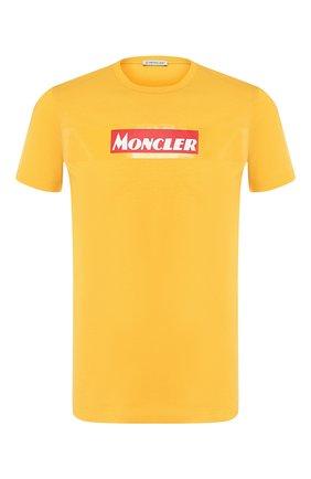Мужская хлопковая футболка MONCLER желтого цвета, арт. E2-091-80484-50-8390T | Фото 1