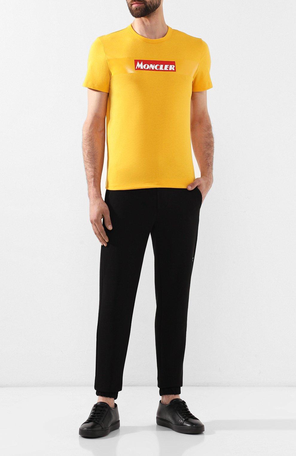 Мужская хлопковая футболка MONCLER желтого цвета, арт. E2-091-80484-50-8390T   Фото 2