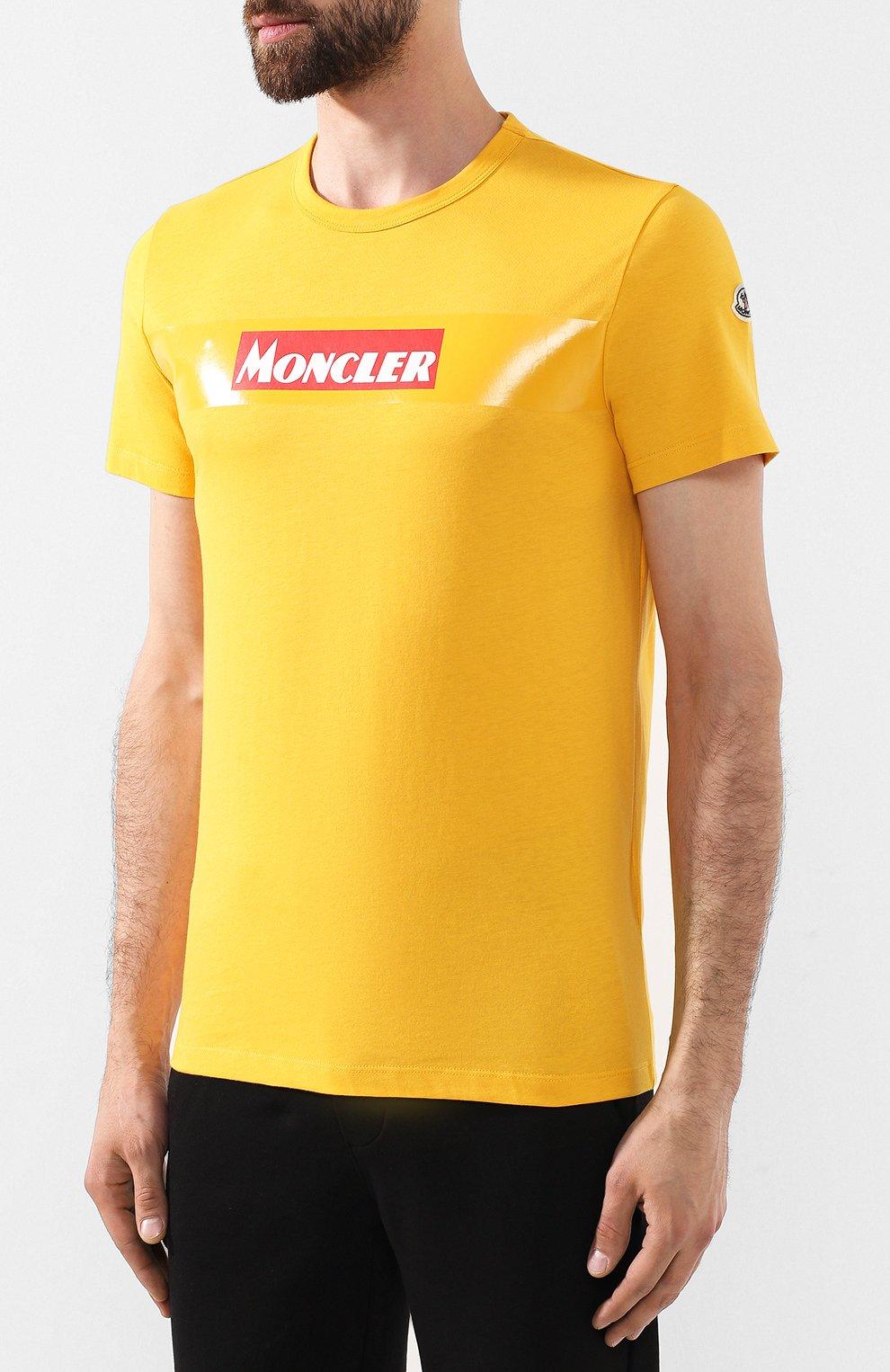 Мужская хлопковая футболка MONCLER желтого цвета, арт. E2-091-80484-50-8390T   Фото 3