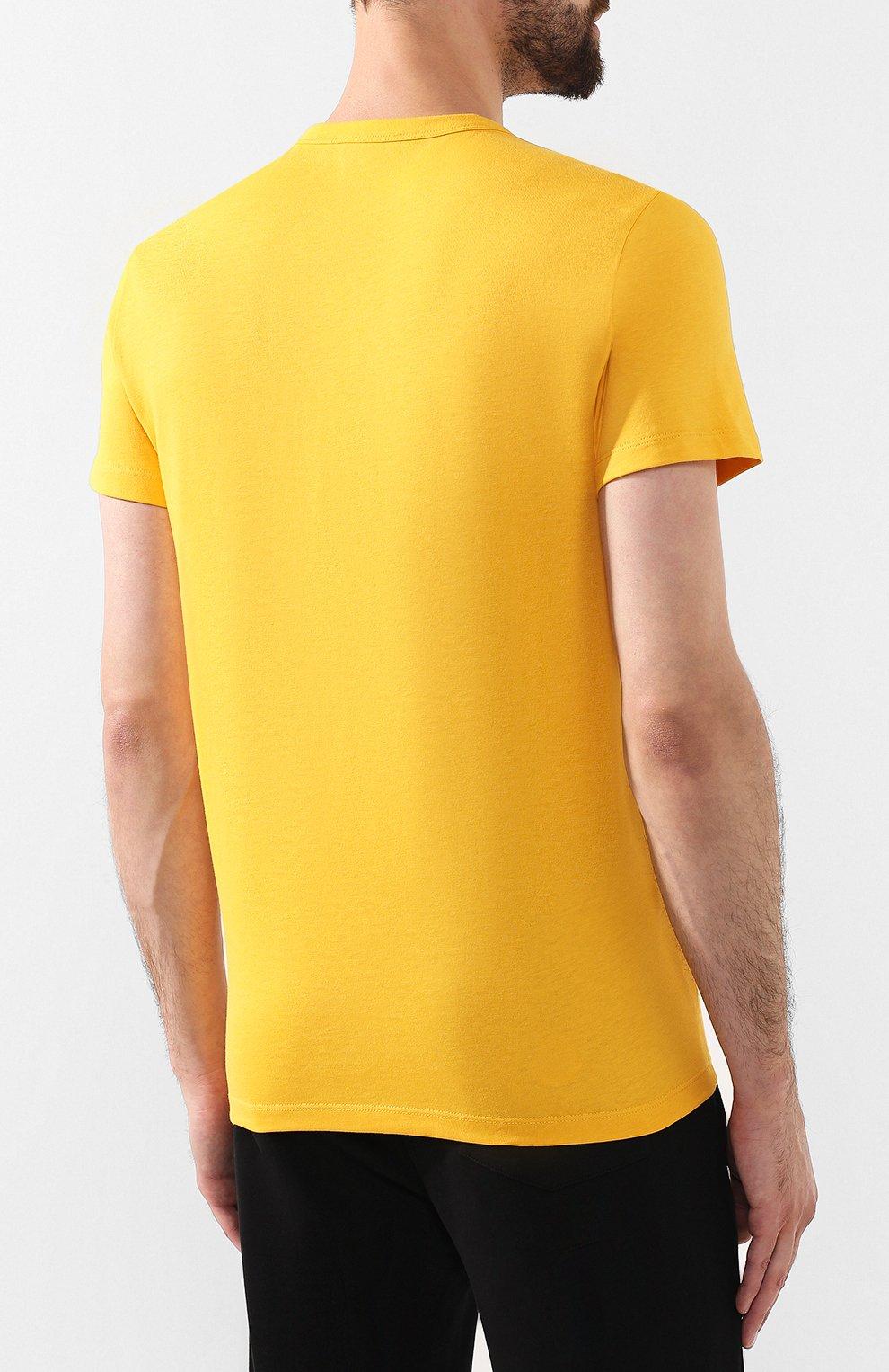 Мужская хлопковая футболка MONCLER желтого цвета, арт. E2-091-80484-50-8390T   Фото 4