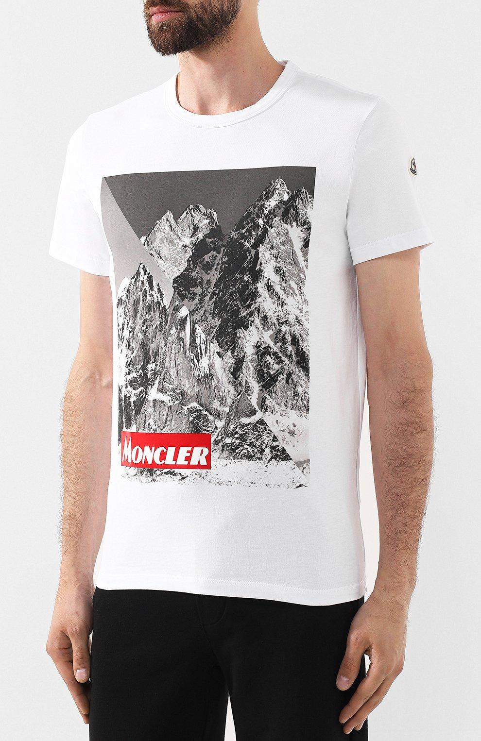 Мужская хлопковая футболка MONCLER белого цвета, арт. E2-091-80483-50-8390T | Фото 3