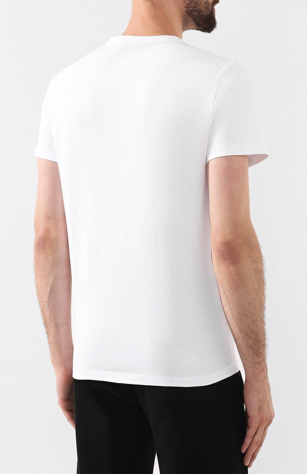Мужская хлопковая футболка MONCLER белого цвета, арт. E2-091-80483-50-8390T | Фото 4