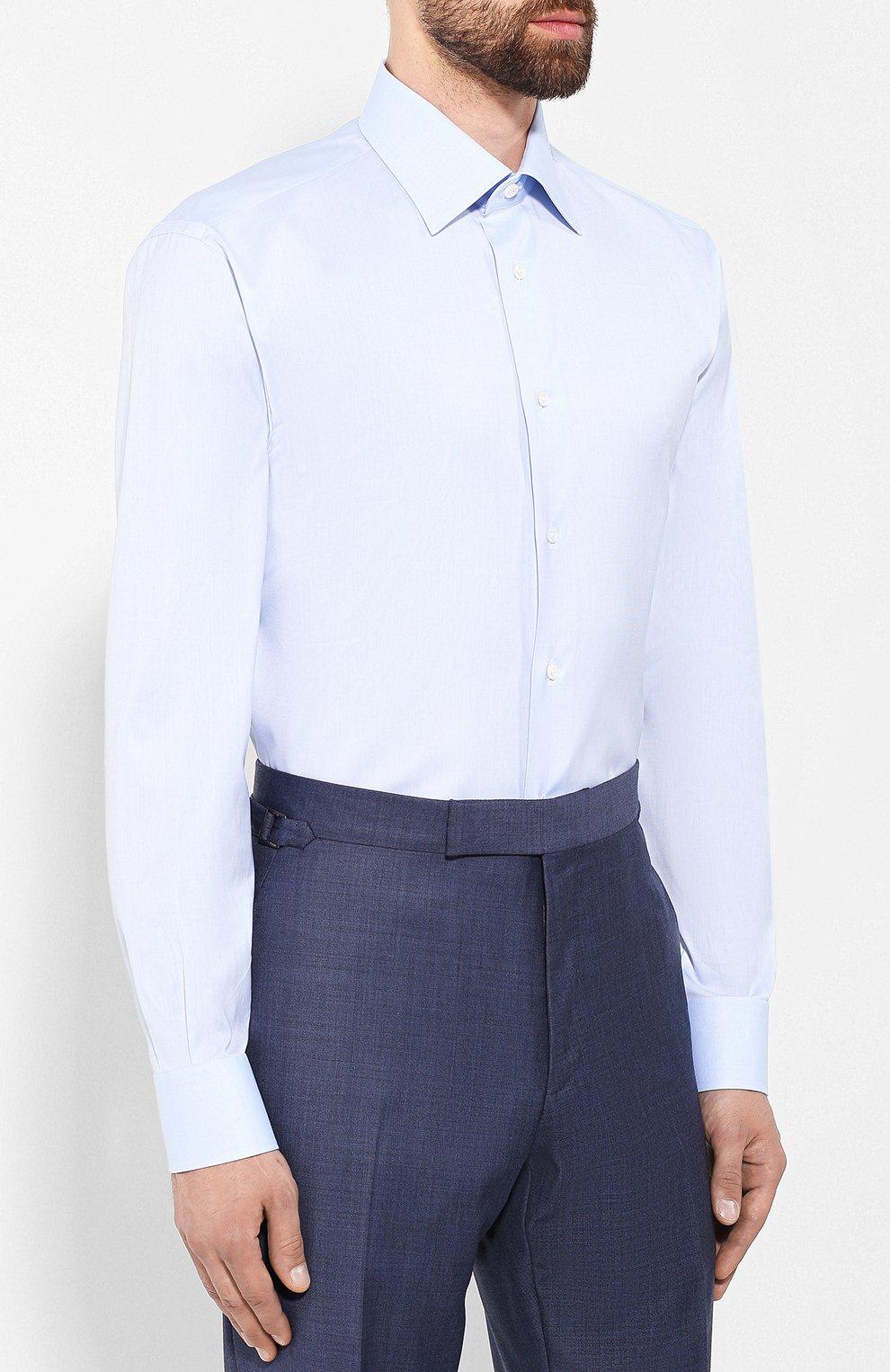 Мужская хлопковая сорочка BRIONI светло-голубого цвета, арт. RCLU1S/0804G | Фото 3