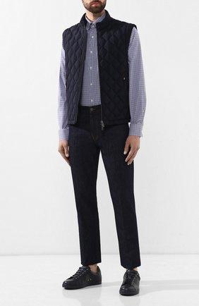 Мужская хлопковая сорочка PAUL&SHARK синего цвета, арт. C0P3007/C00 | Фото 2