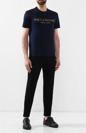 Мужские хлопковые брюки PAUL&SHARK черного цвета, арт. C0P1062 | Фото 2
