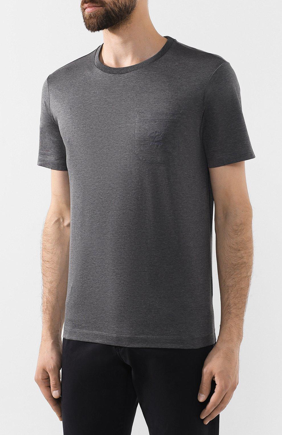 Мужская хлопковая футболка PAUL&SHARK серого цвета, арт. C0P1011/C00 | Фото 3